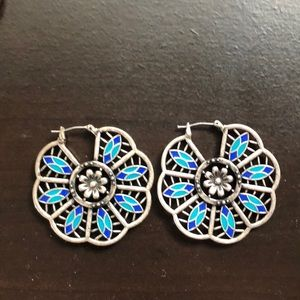 Lucky Brand silver earrings w/blue detailing.